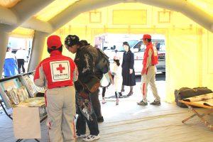 △救護所(エアテント)内部のようす 災害時はこのテント内に簡易ベッド等を設置し、診療にあたります。